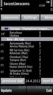 Soccer Livescores v 1.00